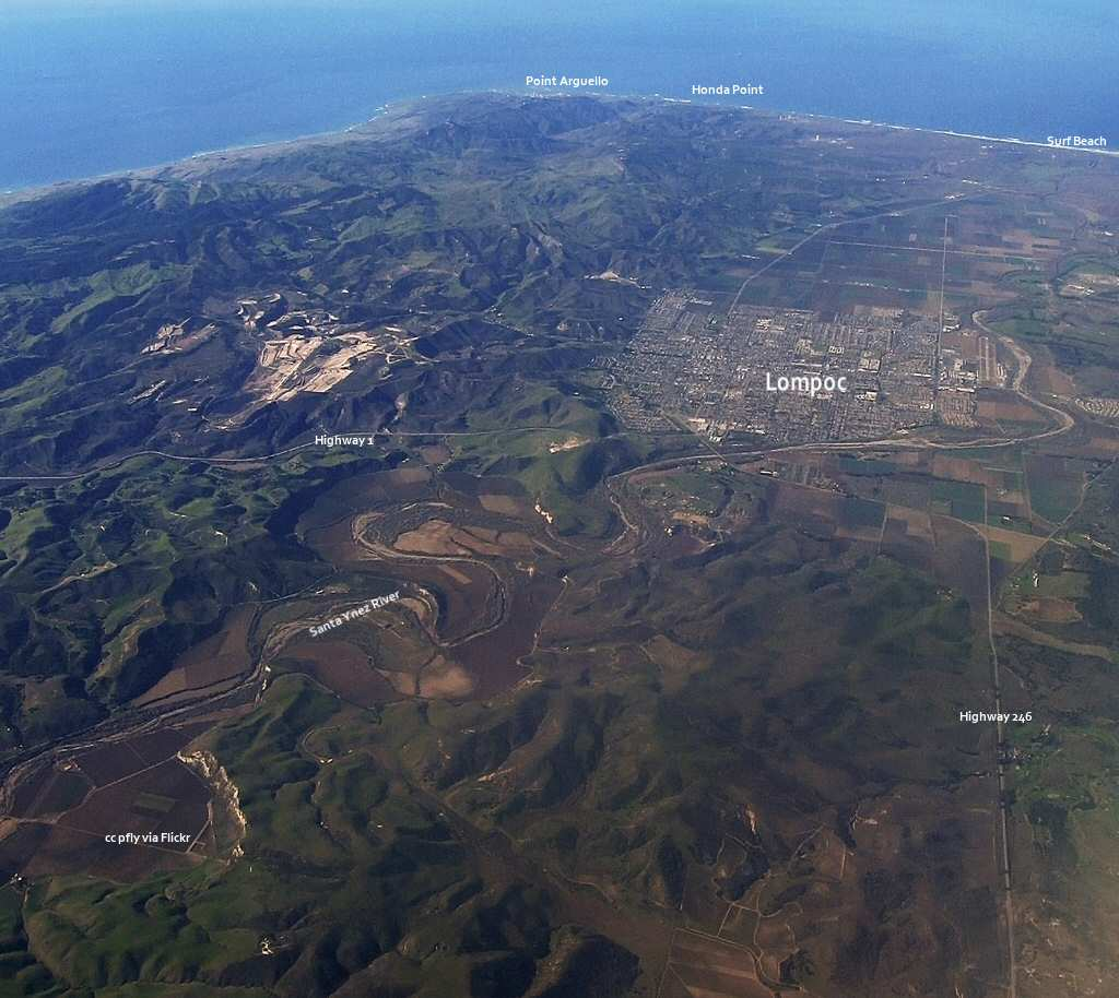 Aerial view of Lompoc and the coast