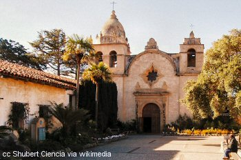 Courtyard and exterior of the Mission Carmel