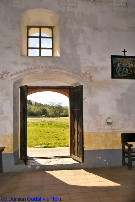View out the church door at La Purisima