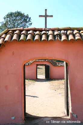 An exterior view of Mission La Purisima