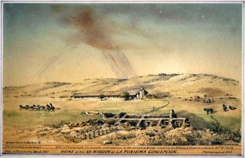 Edward Vischer's sketch of La Purisima Mission 1878