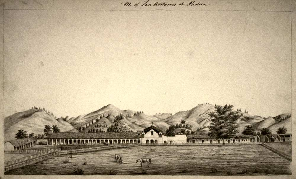 Undated drawing of Mission San Antonio