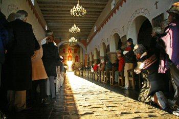 The winter solstice illumination at Mission San Juan Bautista