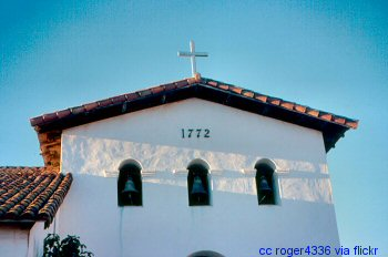 The fascade and bell tower at the Mission San Luis