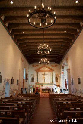 View of the aisle and altar at the San Luis Obispo Mission
