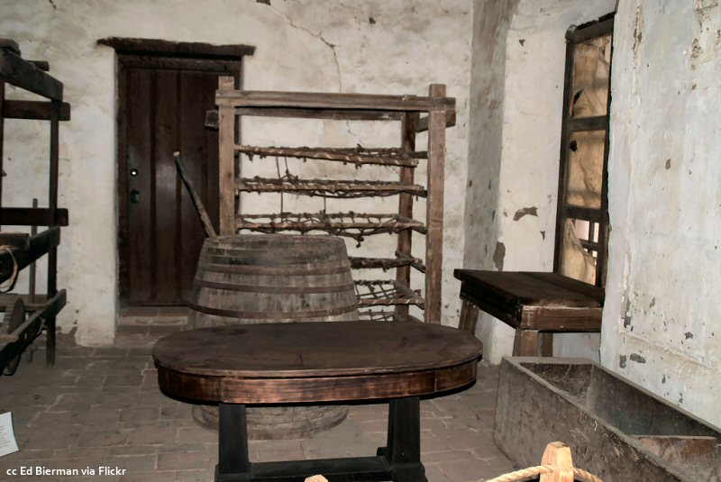 A workroom in the original buildings at the San Miguel mission