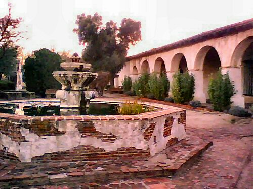 California Mission fountain at San Miguel