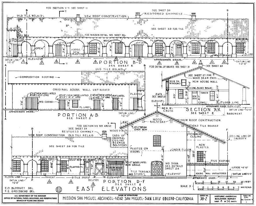 Elevation drawings of Mission San Miguel