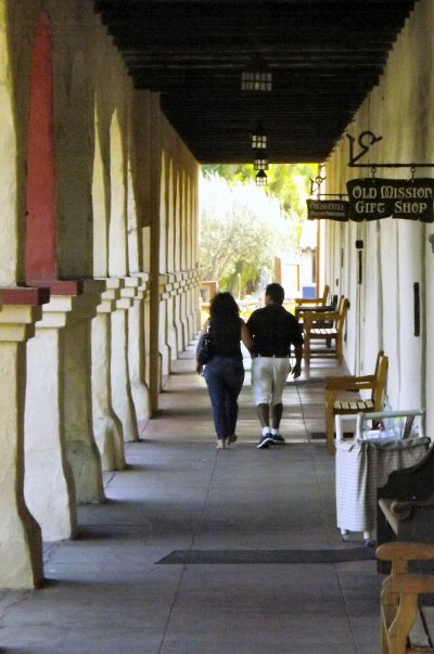 The main arcade at the eastern side of Mission Santa Ines