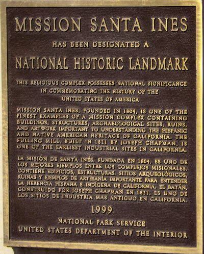 The plaque designating the mission as a National Historic Landmark