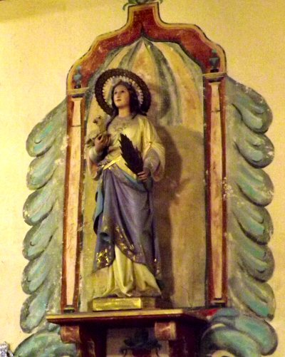 Statue of Saint Agnes at Mission Santa Ines