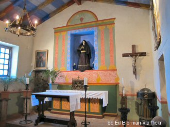 The main altar of the Soledad Mission church
