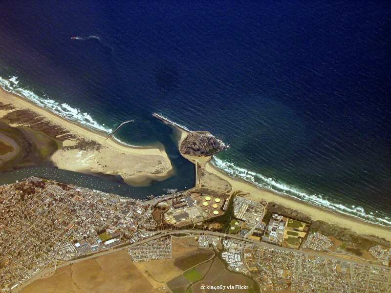 Aerial view of Morro Bay and Morro Rock
