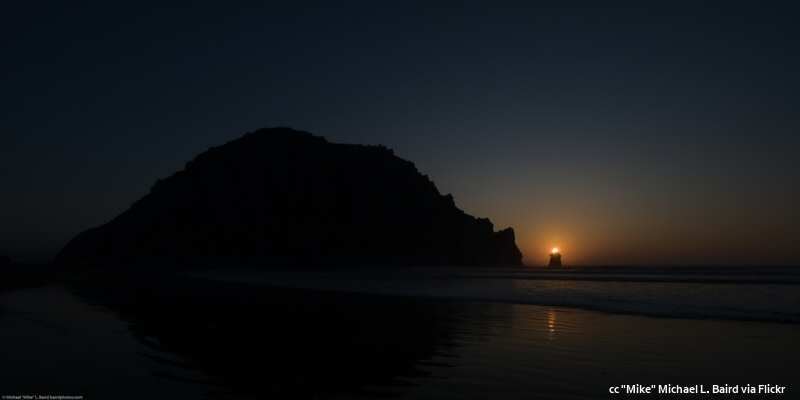 The sun setting over Pillar Rock just NW of Morro Rock