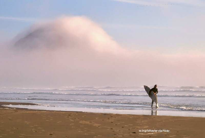 Morro Rock shrouded in fog