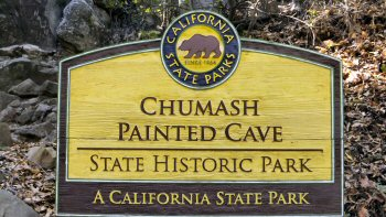 Main sign at Chumash Painted Cave Park