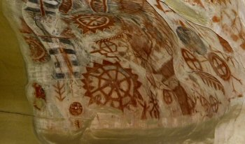 Paintings inside the Chumash Cave