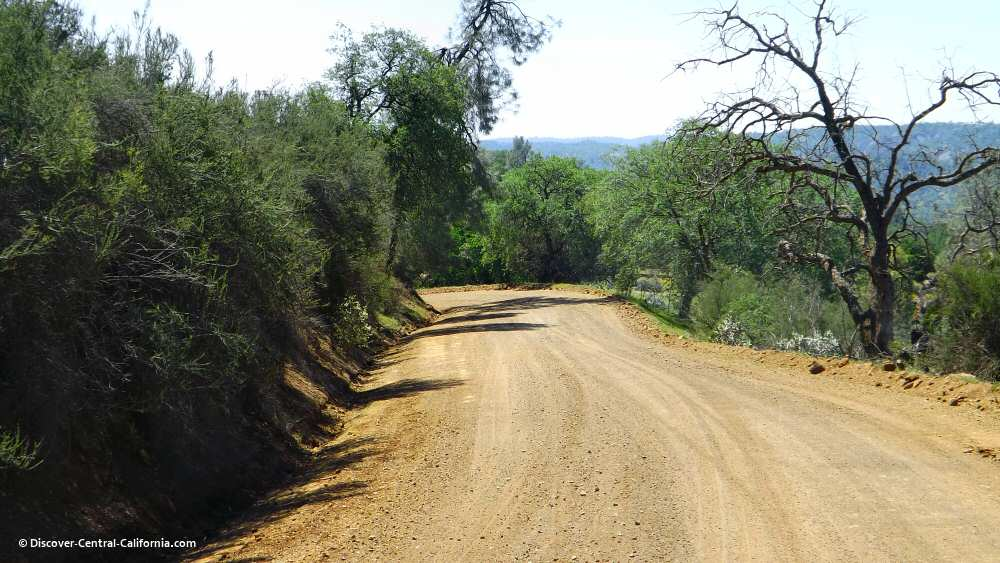 A look at the unpaved section of road