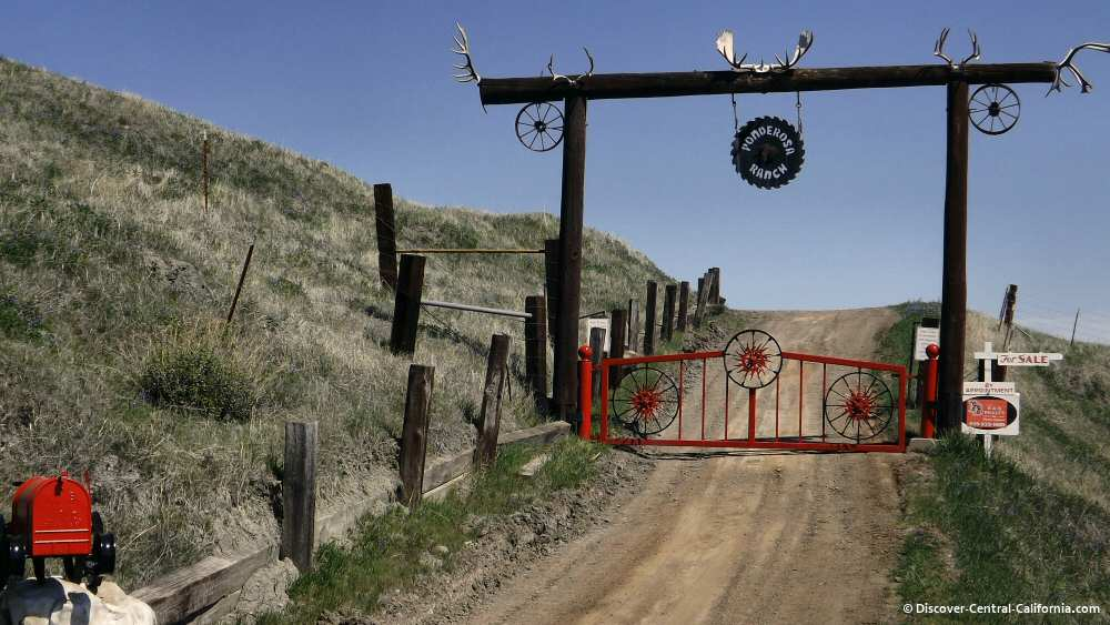 Unique ranch gate along the road