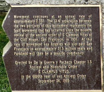 The second half of the text on the monument at Parkfield
