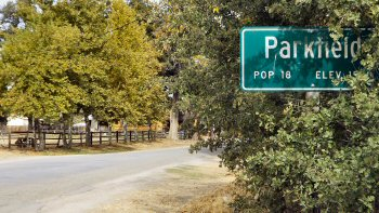 The sign outside of Parkfield, California