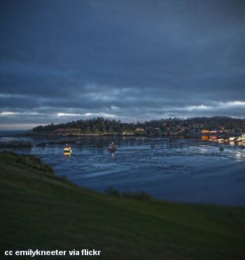 A view of Pebble beach at twilight across the water