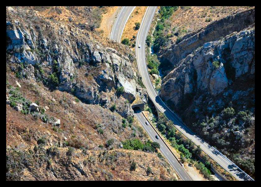 Aerial view of the Gaviota Pass looking south
