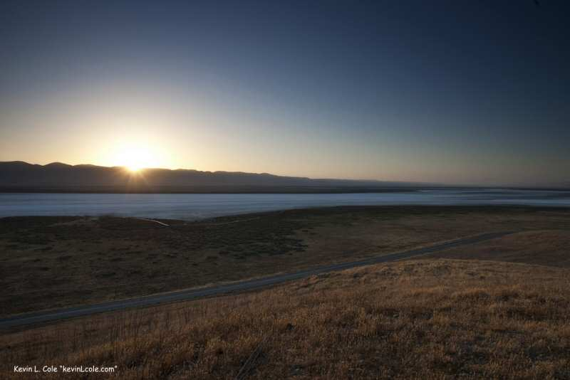 The sunrise over Soda Lake on the Carrizo Plains in Central California