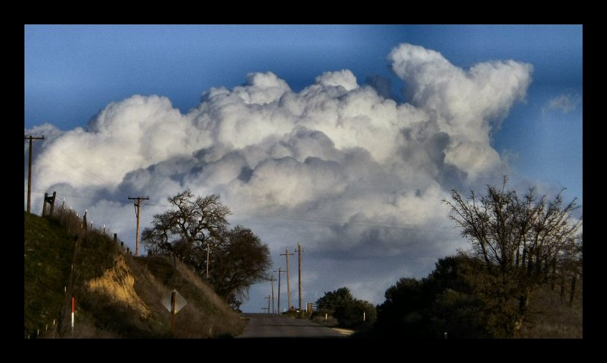 Great cumulus clouds from a passing winter storm