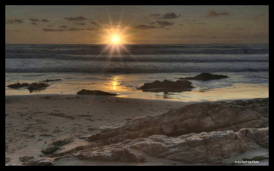 A beautiful sunset over the rocks at Jalama Beach