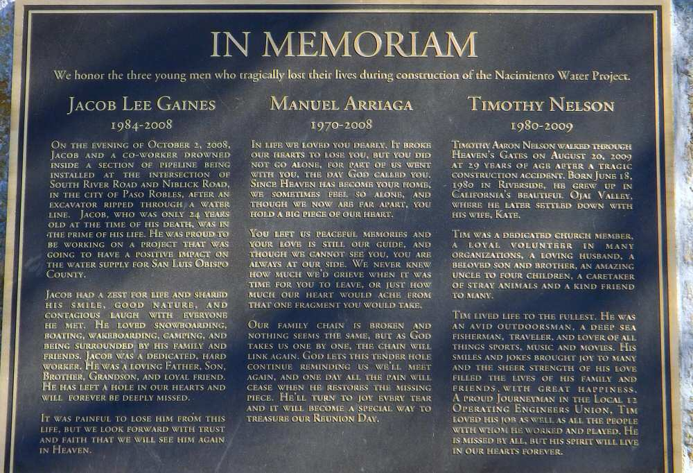 Memorial plaque for three construction workers