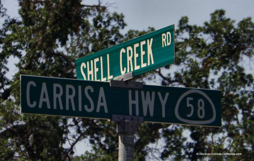 Sign at Shell Creek Road and Highway 58