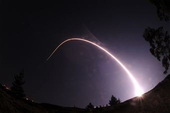 Nighttime missile launch from Vandenberg AFB in Central California