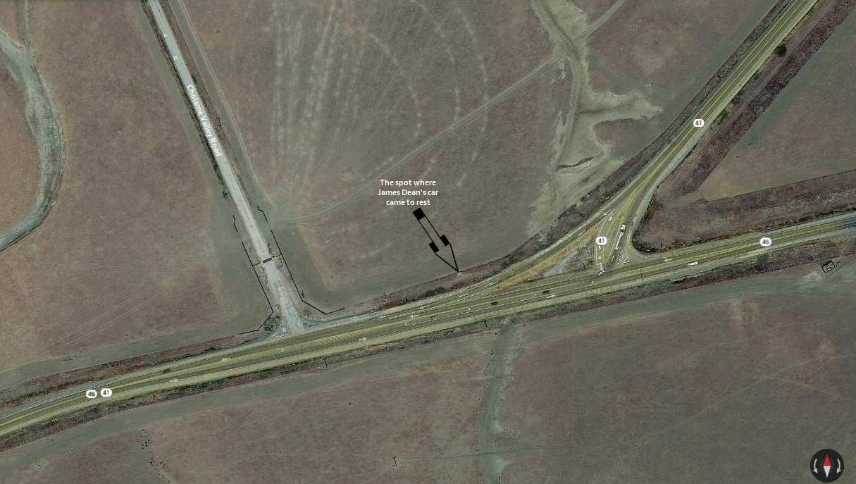 Satellite view of the James Dean Memorial Junction