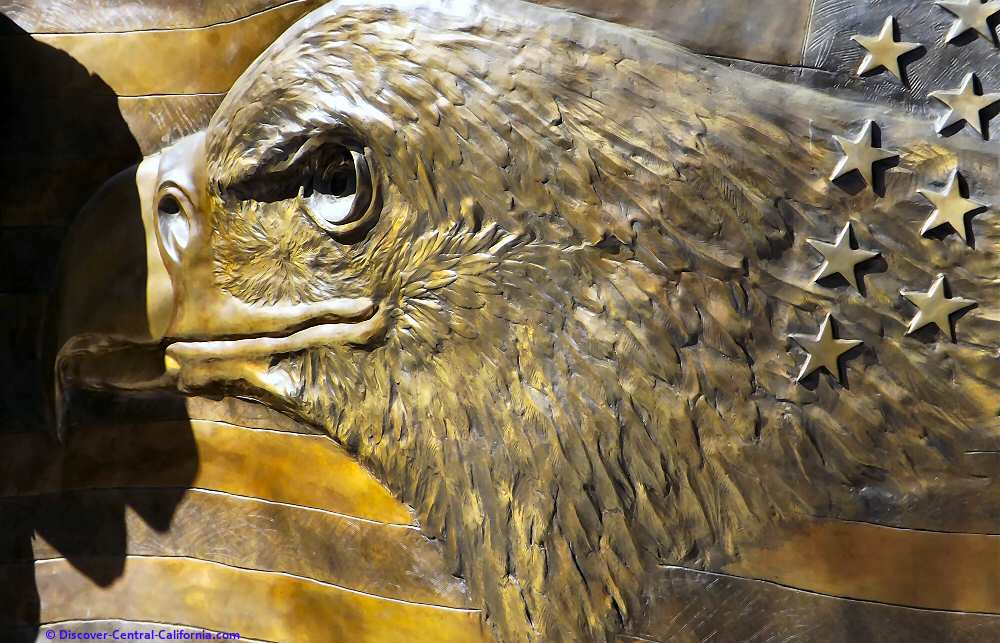 The eagle on the reverse of the Faces of Freedom flag
