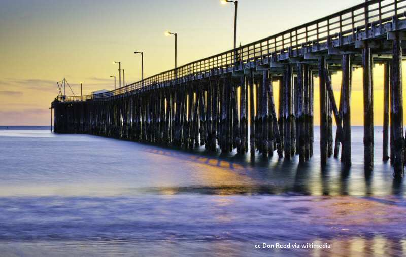 The Avila Beach pier at sunset