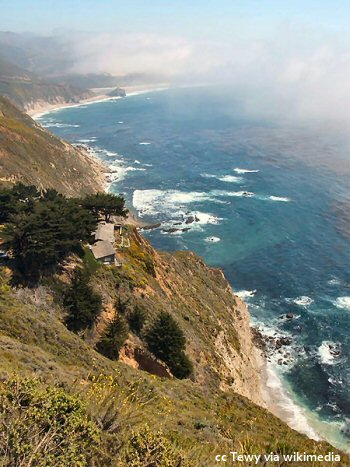 The Big Sur coastline just north of Point Sur - steep drops straight down to the ocean - a beautiful setting for a home