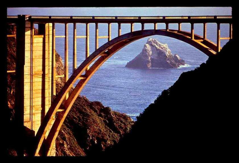 The Bixby Bridge with a nicely framed sea rock beyond