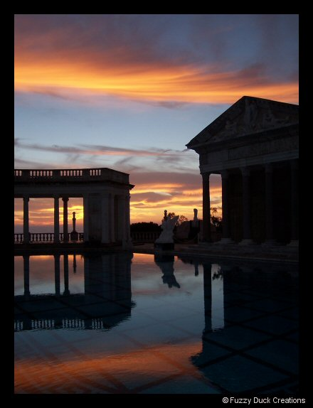 Sunset over the Neptune Pool at Hearst Castle