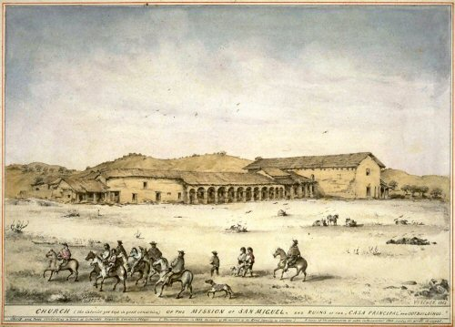 Mission San Miguel sketched in 1863