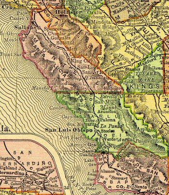 Detail of an 1895 map of California