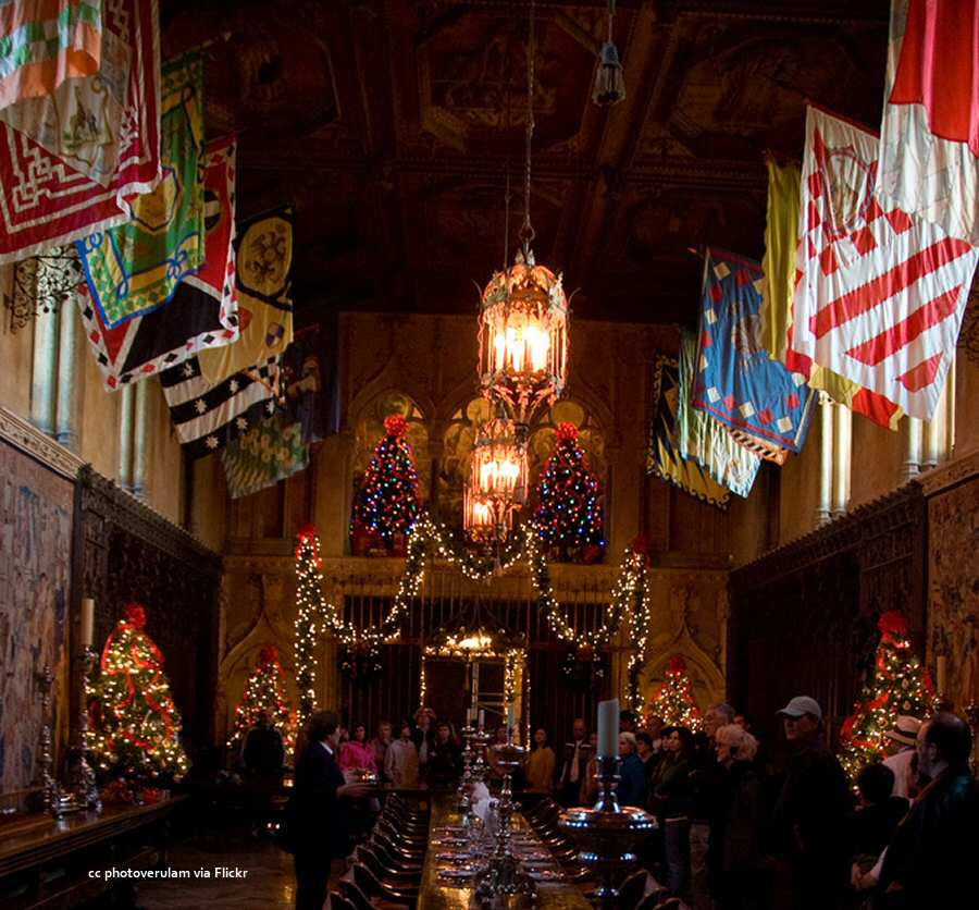 The dining room at Hearst Castle decorated for Christmas