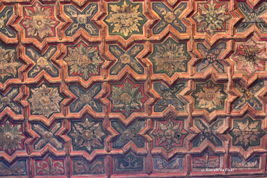 Painted and patterned ceiling