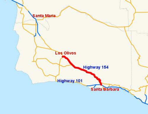 Map of Highway 154