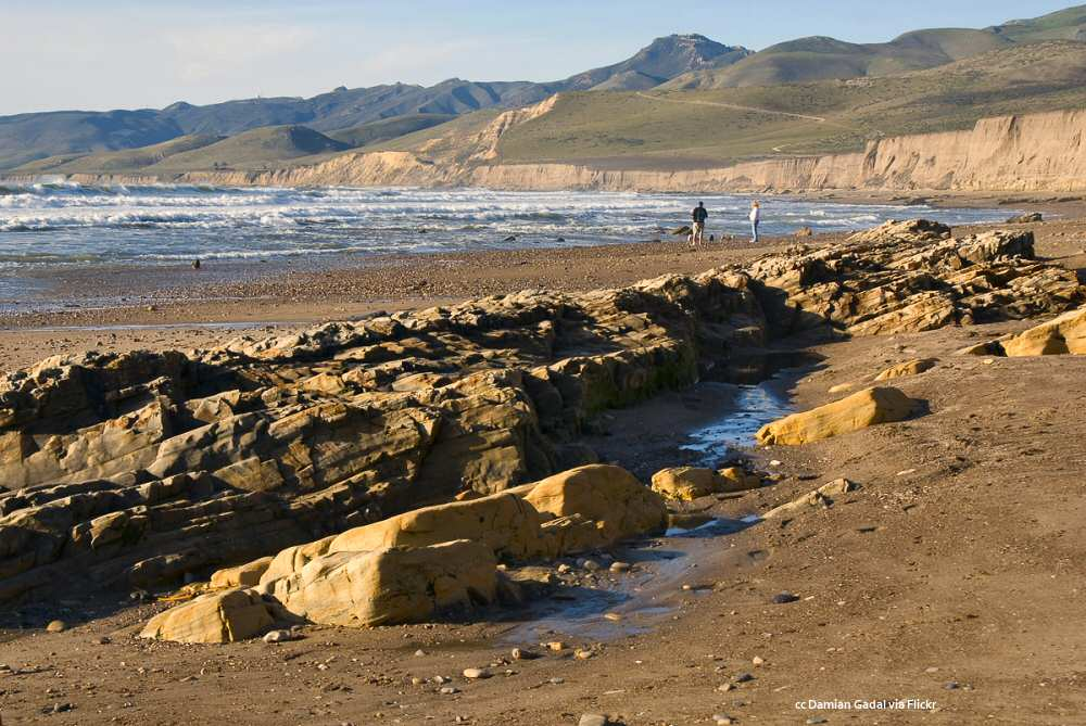 A reef exposed at low tide at Jalama Beach