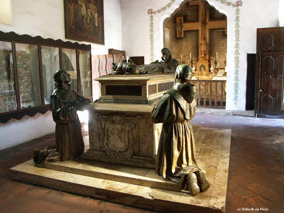 The cenotaph or empty tomb of Junipero Serra at Mission Carmel