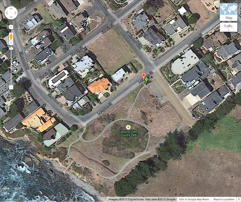 Satellite view of Lampton Cliffs County Park in Cambria