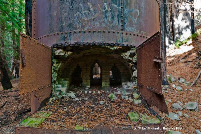 View of the firebox of a limekiln at Limekiln State Park