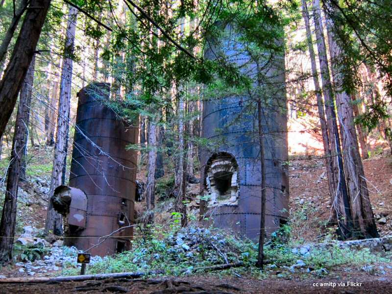 The abandoned eponymous limekilns at Limekiln State Park on the Big Sur Coast