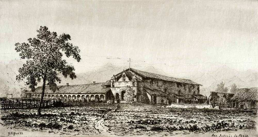 1883 Henry Chapman Ford drawing of Mission San Antonio